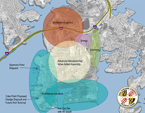 map of potential land use for Sparrows Point