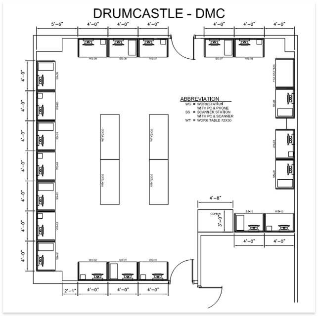 The layout of the Drumcastle DMC.