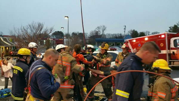 BCoFD crews rescue boy from 35' well.