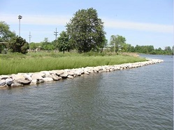 Image of a shoreline restoration project.