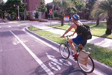 photo of bicyclist in bike lane