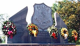 Photograph of the police memorial at Patriot Plaza.