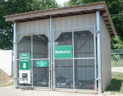 Photo of a building at a battery recycling location.