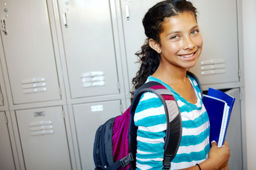 photo of student by lockers
