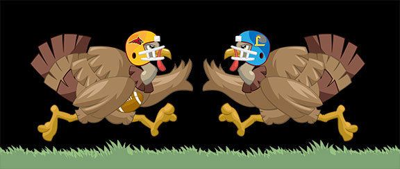 graphic image of two turkeys in football gear with school logos