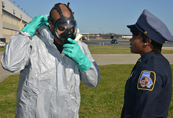 Baltimore County Police testing chemical suit.