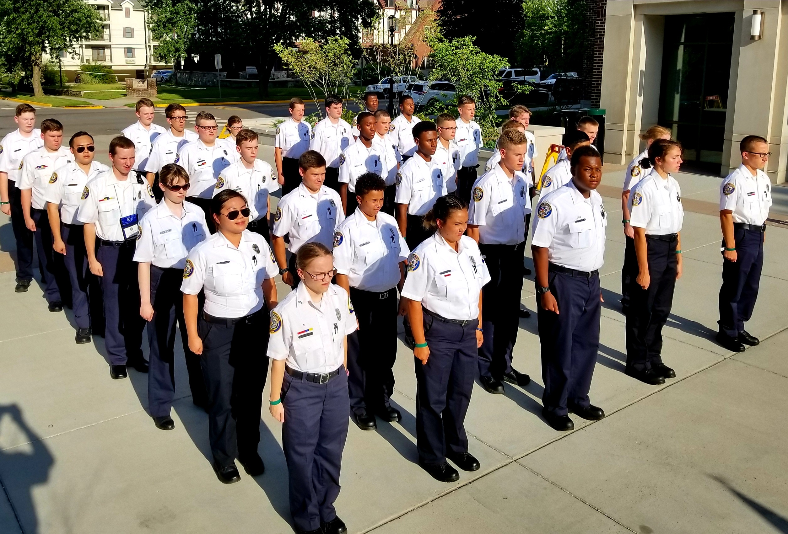 Photo of Baltimore County Police Explorers standing at attention.