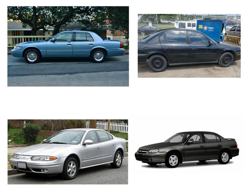 Collage of stock photos and actual photo of vehicles used by Brandon Saunders in rape cases.