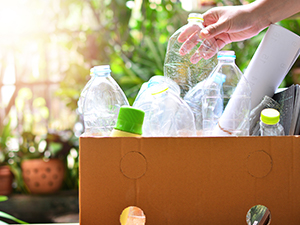 Photo of plastic bottles in a box to be recycled