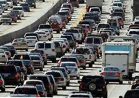 Traffic congestion increases as reliance on the automobile for transportation grows.