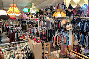 Photo of the interior of a vintage clothing store